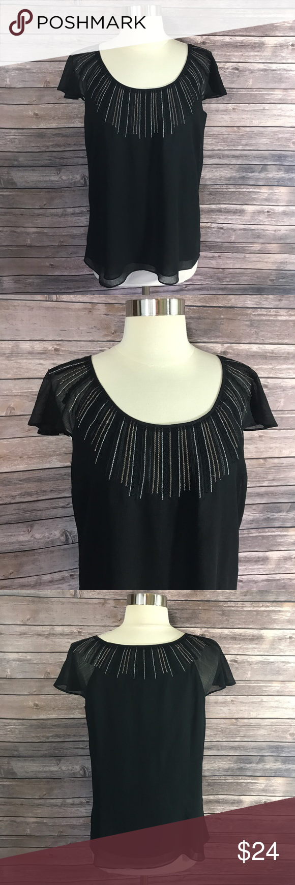 WHBM Top Med Black Silver Gold Embroidered Blouse White House Black Market Top Size Medium Black Silver Gold Embroidered Blouse. Measurements: (in inches) Underarm to underarm: 19 Length: 25  Good, gently used condition White House Black Market Tops Blouses