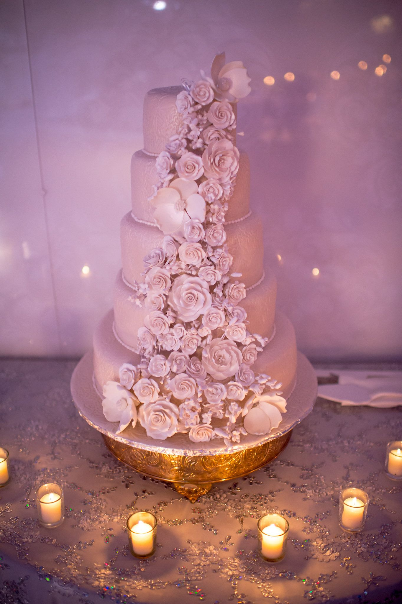 Perfectly Sculpted Roses for this Stunning 5 Tier Wedding Cake ...
