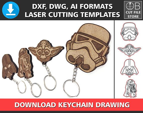 Starwars Wooden Keychain Darth Vader Stormtrooper R2 D2 Yoda