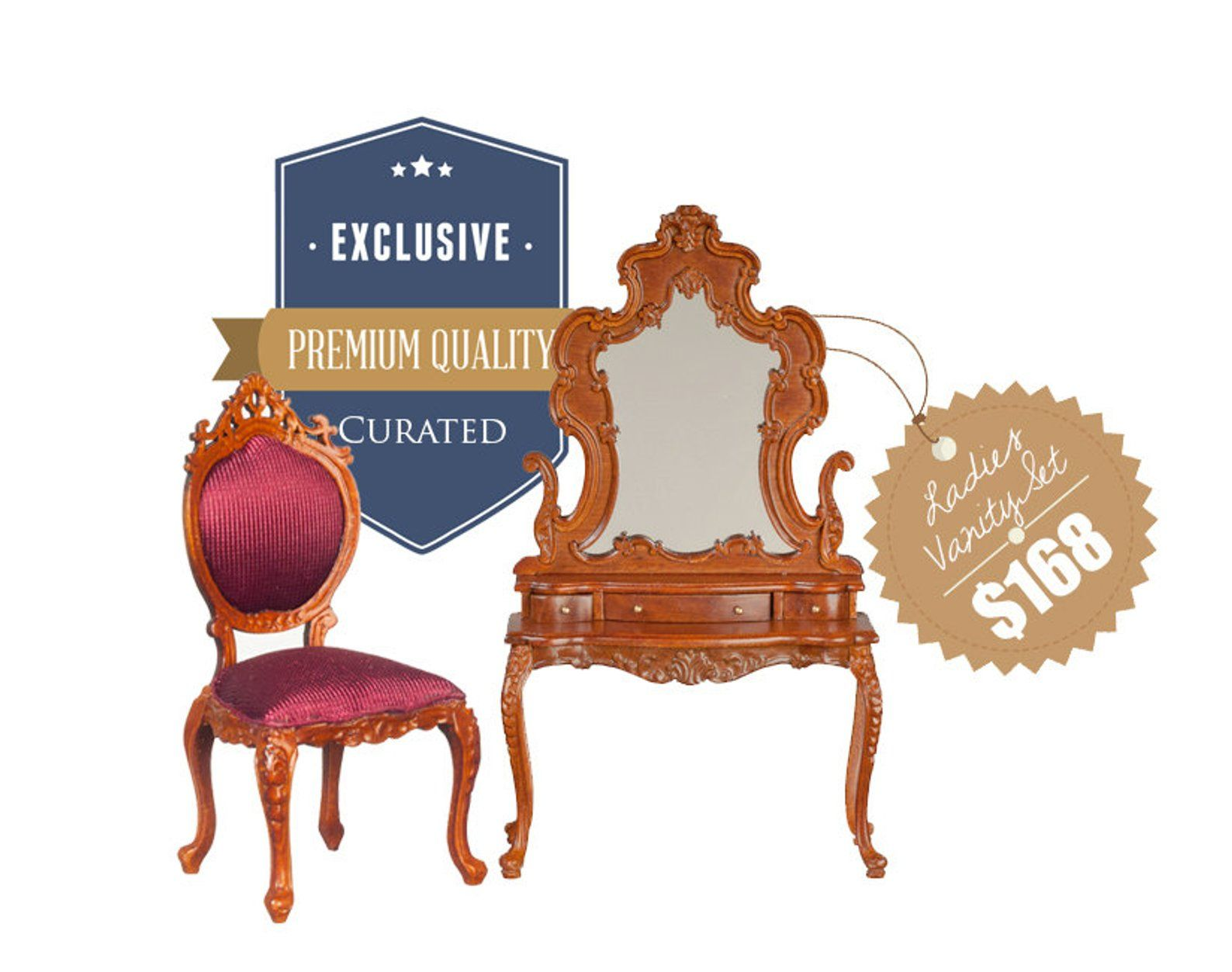Finished In Walnut Miniature 1:12 Scale Wooden Scallop Chair For Doll House