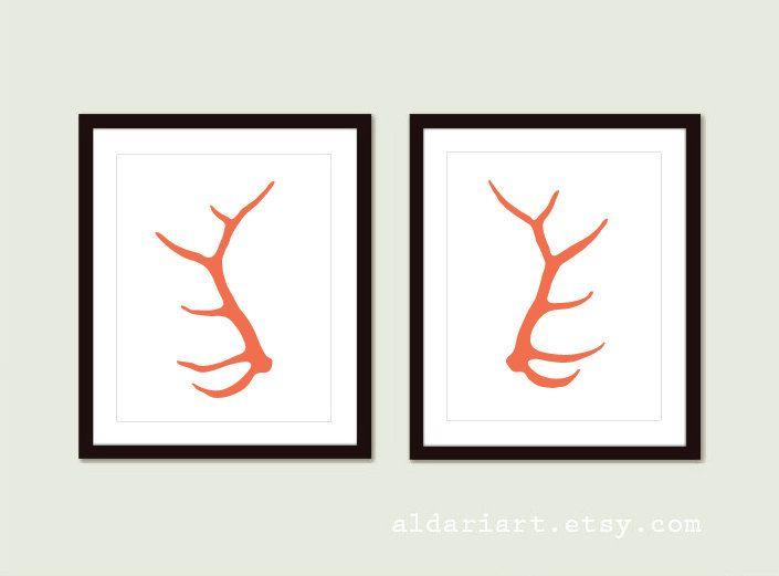 Elk Antlers Art Prints - Modern Deer Anlters Wall Art - Woodland Rustic Modern Home Decor - Set of 2 Prints - Coral Orange - Aldari Art by AldariArt on Etsy
