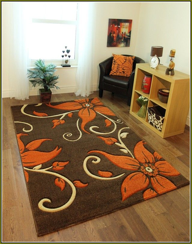 Very Nice Floral Brown Area Rug With Orange Flowers Brown Area - Burnt orange bathroom rugs for bathroom decor ideas