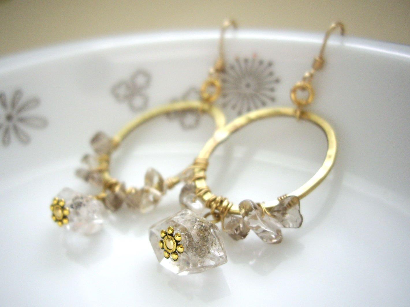 Herkimer diamond hoop earrings, Wire wrapped hoop earrings, Hammered ...