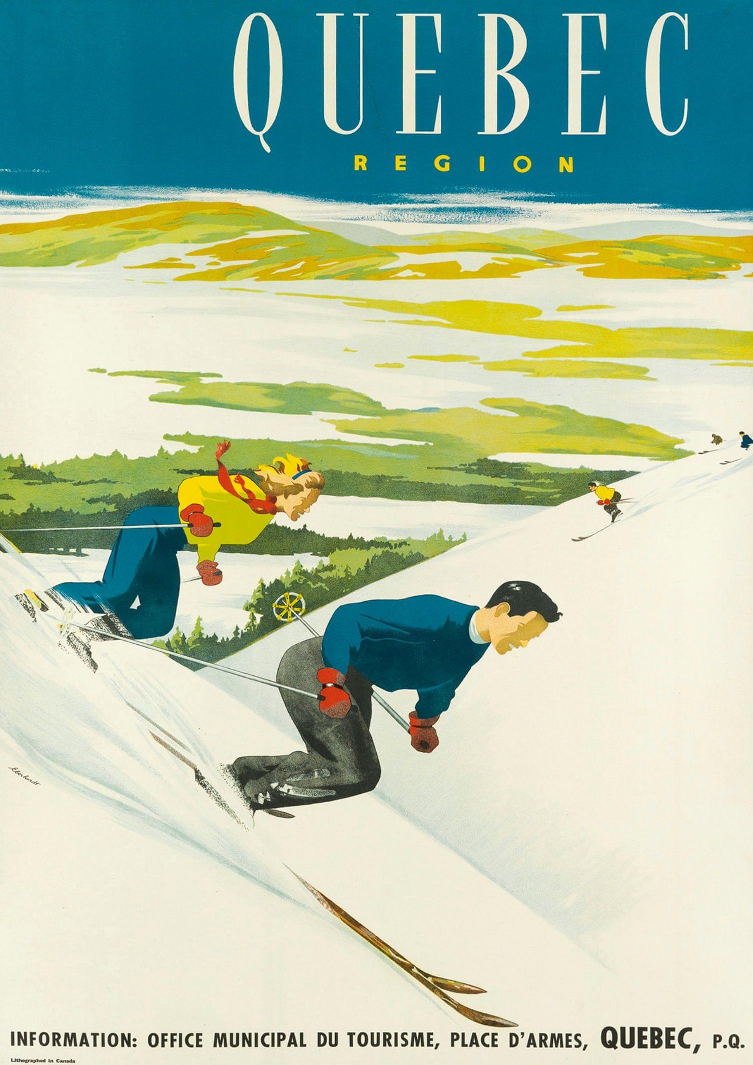 GIRL DOWNHILL SKIING SKI FUN DAVOS SWITZERLAND WINTER SPORT VINTAGE POSTER REPRO