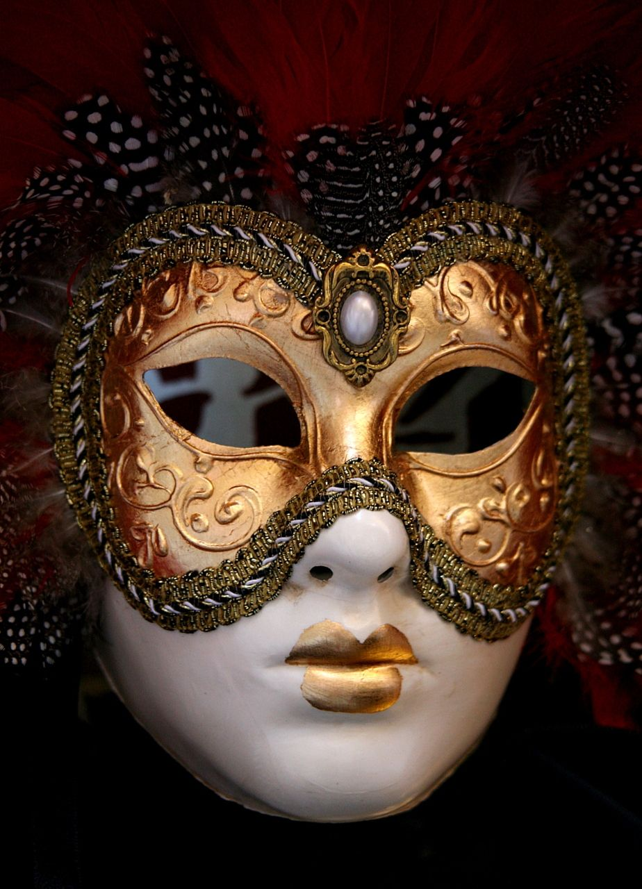Venetian mask with copper and gold details. Beautiful.