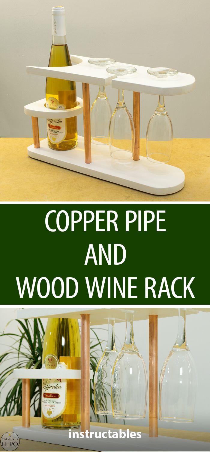 Copper Pipe and Wood Wine Rack | Madera, Carpintería y Vinoteca