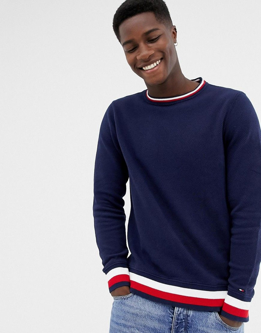 ef8c46fc TOMMY HILFIGER CREW NECK STRIPED SWEATER - NAVY. #tommyhilfiger #cloth