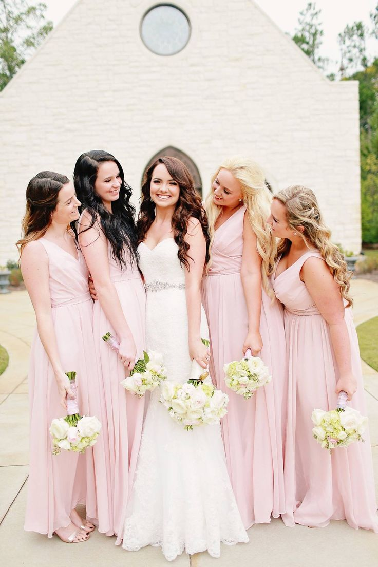 406cc027ef5 Long chiffon blush pink bridesmaid dresses are perfect for spring and summer  weddings!