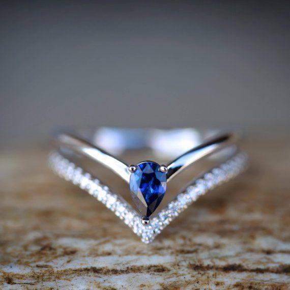 Damen-Verlobungsring mit Weißgold, Saphir und Diamanten – Zeichnungen von … … – Farm House Trends