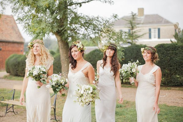 cdce7e85b7 A Timeless   Beautiful Bridesmaids Look ~ Long Ivory Dresses