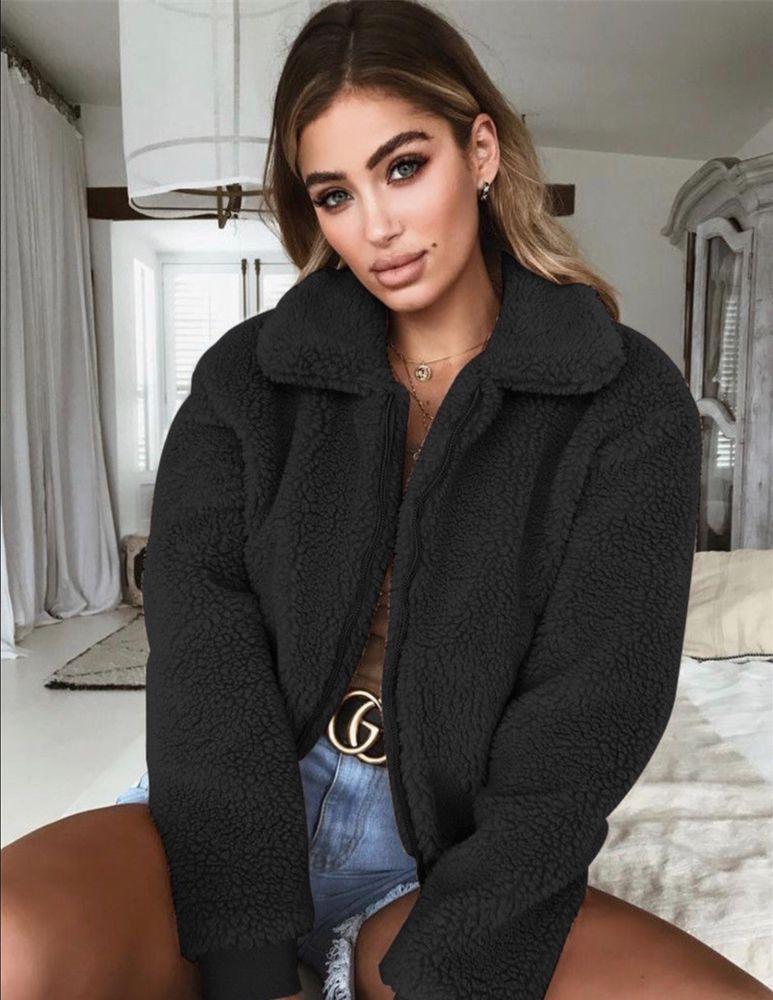 8566f37868e UK STOCK TEDDY BEAR JACKET JUMPER CROP FLUFFY FAUX FUR CUTE BLACK FREE POST  #fashion #clothing #shoes #accessories #womensclothing #coatsjacketsvests  (ebay ...