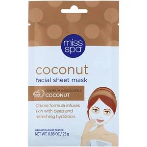 Miss Spa Coconut Facial Sheet Mask 1 Sheet Iherb Coconut Facial Facial Sheet Mask Skin Care Face Mask