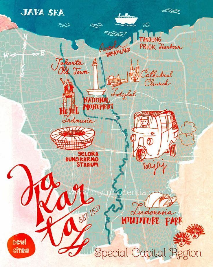 Jakarta tourist map google search ortus concept pinterest illustrated map of jakarta jakartas tourism map you can see some interests place in jakarta the capital of indonesia gumiabroncs
