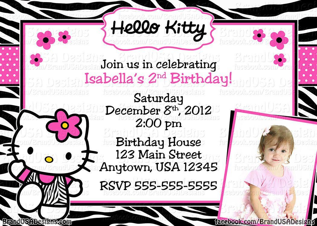 Custom Hello Kitty birthday party invitations  Hello kitty