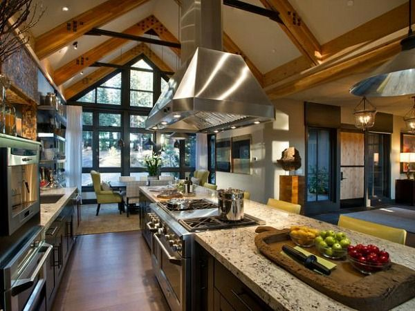HGTV Dream Home 2014 Lake Tahoe. Galley style kitchen with east and west  views.