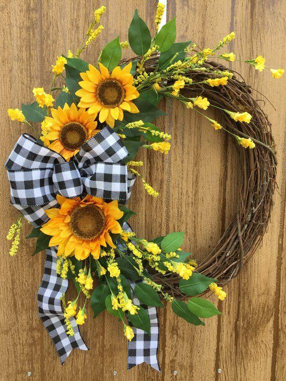 Photo of Sunflower Wreath, Farmhouse Wreath, Year Round Wreath, Summer Wreath, Spring Farmhouse Wreath, Fall Wreath, Buffalo Check Fall Wreath