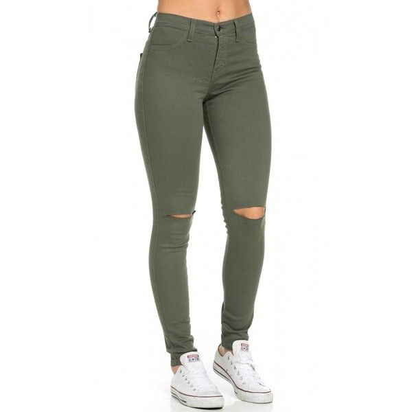 High Waisted Knee Slit Skinny Jeans in Olive (750 MXN) ❤ liked on Polyvore featuring jeans, white skinny jeans, stretch jeans, olive green skinny jeans, high waisted white skinny jeans and high rise skinny jeans