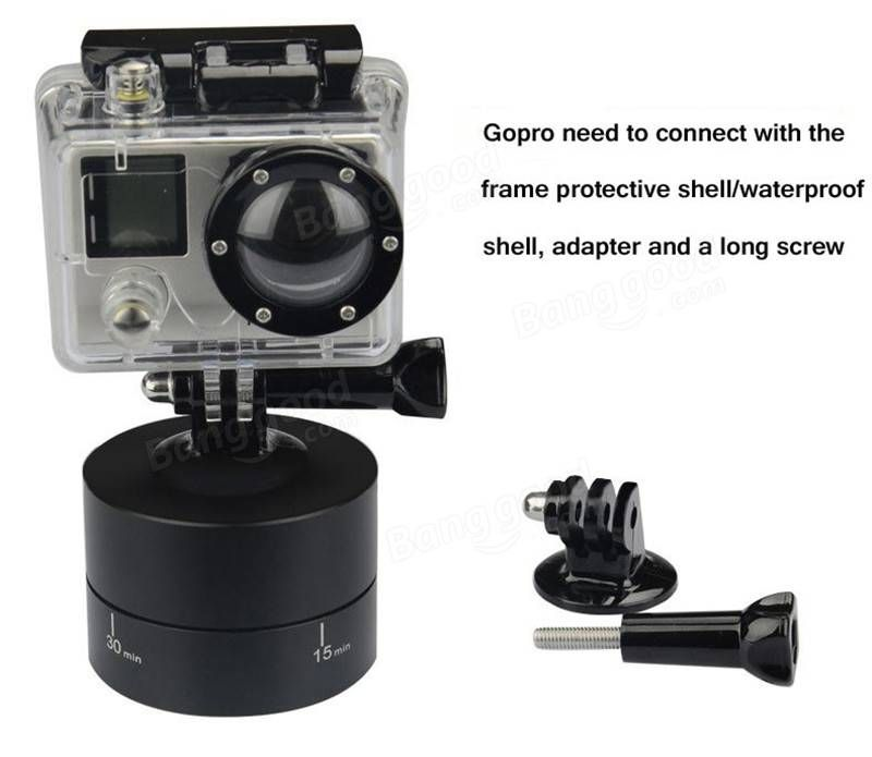 360 Degrees Panning Stabilizer Rotating Tripod Adapter For Gopro DSLR Phone - US$18.68