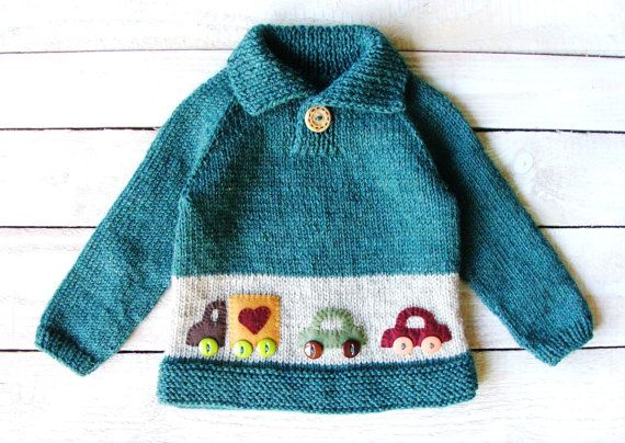 6e1f85b2ca86 This sweater will fit baby boys up to 2 years old. Hand knitted from ...