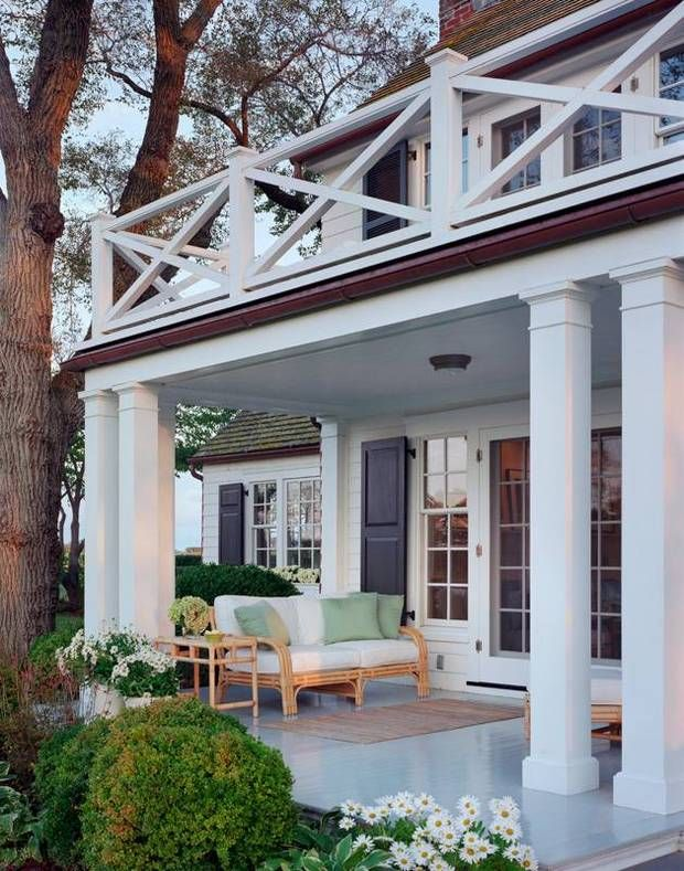 beautiful porches on white house