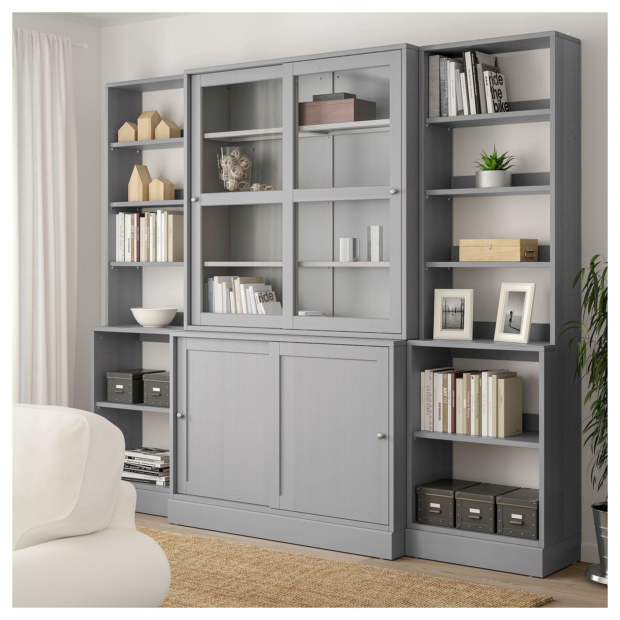 havsta storage with sliding glass doors  gray ikea