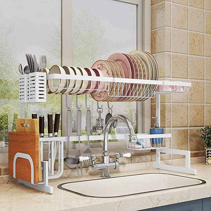 Amazon Com Over Sink 33 Dish Drying Rack 2 Cutlery Holders Drainer Shelf For Kitchen Supplies Storage Counter Organizer In 2020 With Images Sink Sizes Shelves Kitchen Supplies