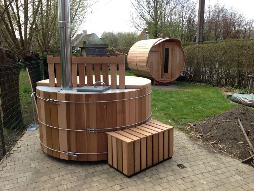 Saunabarrel by Modis : saunabarrel en hottub bij 'Helpness' te Damme. www.saunabarrel.be www.helpness.be