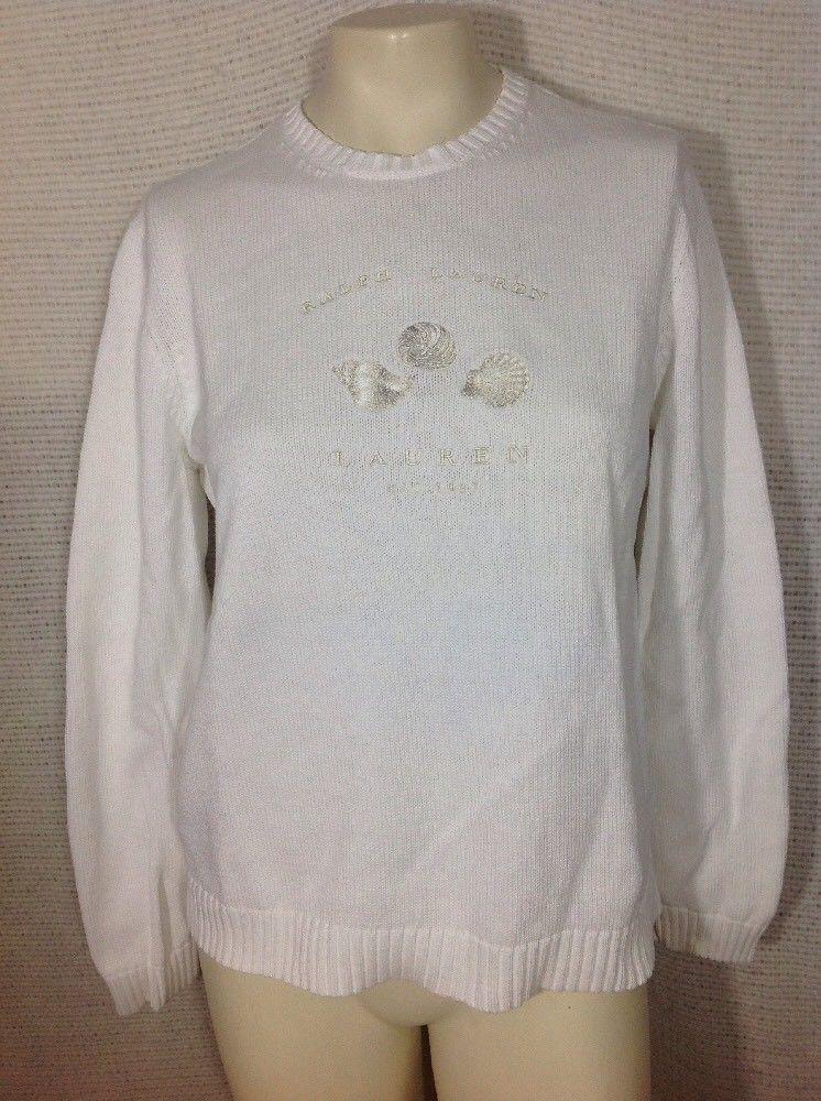 5cc9ab599539 Lauren Ralph Lauren Women Sweater White Seashell Embroidery Summer Beach  Crew L #LaurenRalphLauren #Crewneck