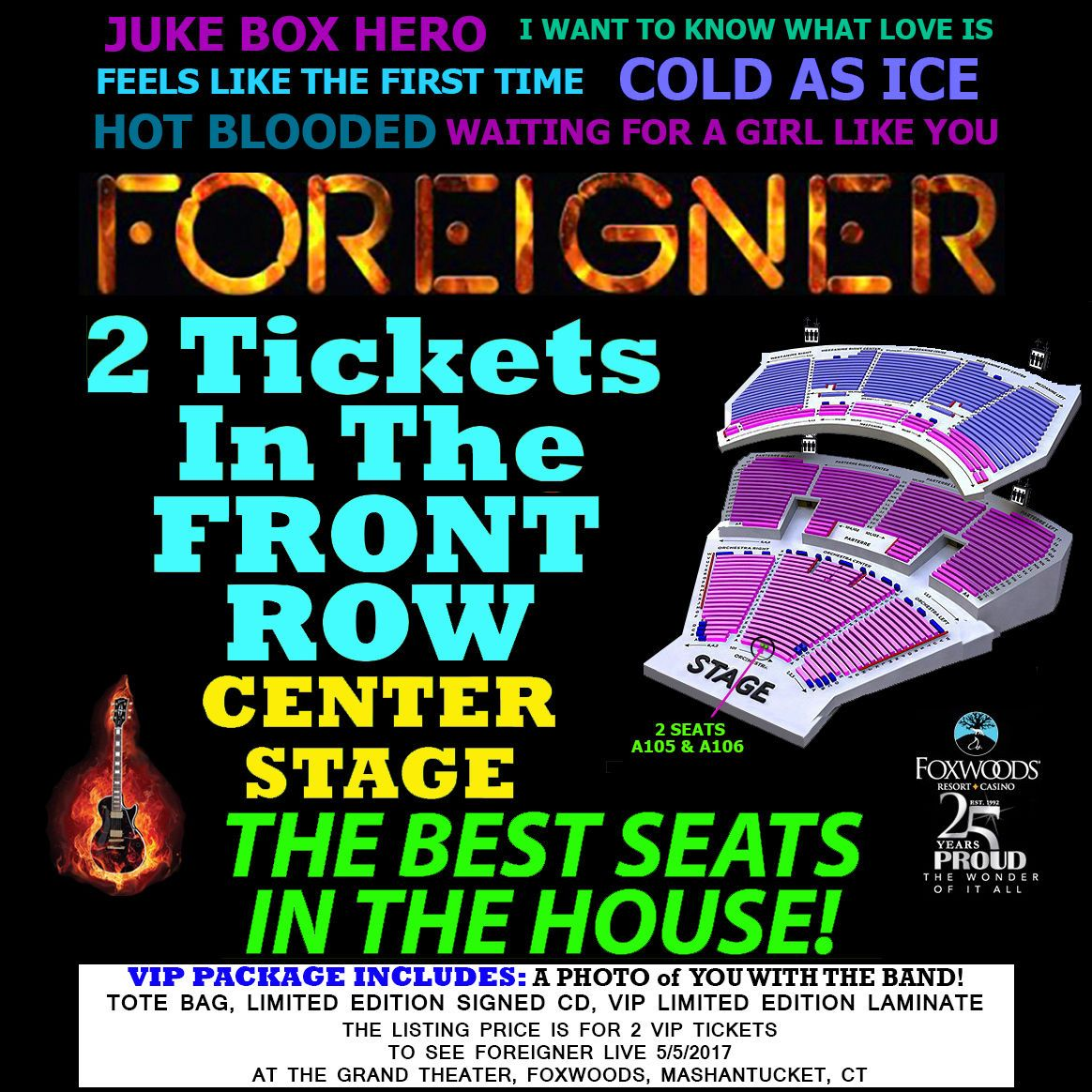 Tickets foreigner front row a center stage 2 vip tickets grand tickets foreigner front row a center stage 2 vip tickets grand theater foxwoods 5 kristyandbryce Image collections