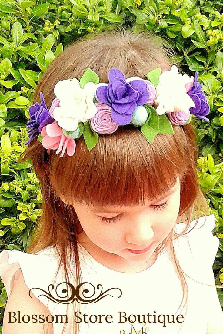 Baby fühlte Blume Krone Stirnband Blumenmädchen Vorschlag Neugeborene Mädchen Krone Baby Mädc... #crownheadband