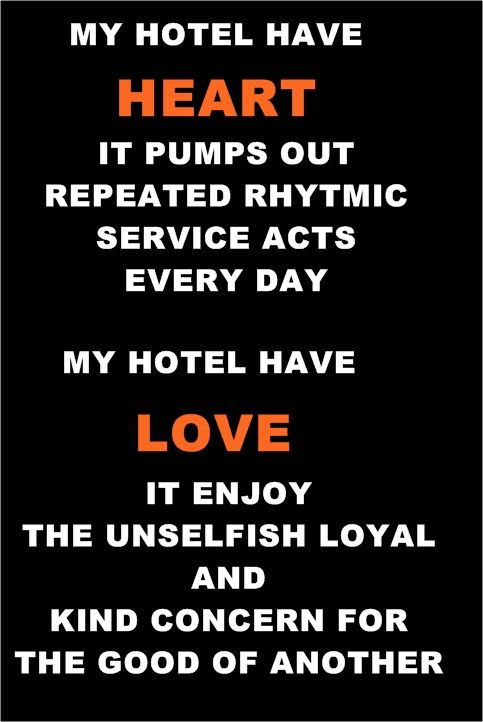 My Hotel has Heart and Love Hotel housekeeping