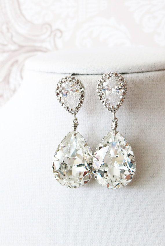 Swarovski Crystal Teardrop Earrings Gifts For Her Sparkly Silver Bridesmaid Bridal Jewelry Wedding Glitzandlove