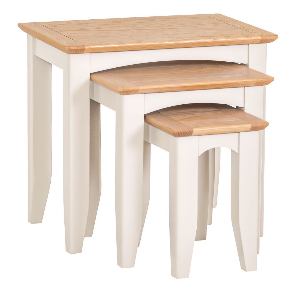5f06811bf9fe Malvern Shaker Ivory Painted Oak Nest of Tables #chilternoak 3 tables that  can nest away together to form 1 is a perfect space saving storage solution.