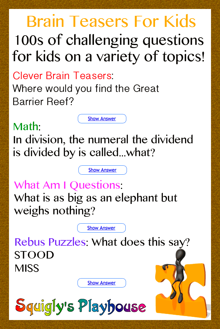 small resolution of Over 100 Brain Teasers for Kids   Brain teasers for kids