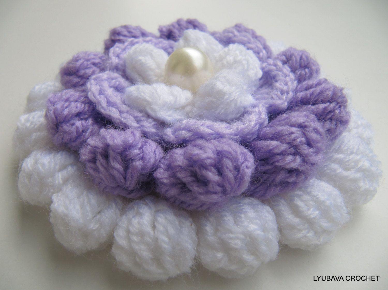 Giant Crochet Flower Pattern : Crochet Big Flower PATTERN-Lilac Mosaic-3d Flowers-Crochet ...
