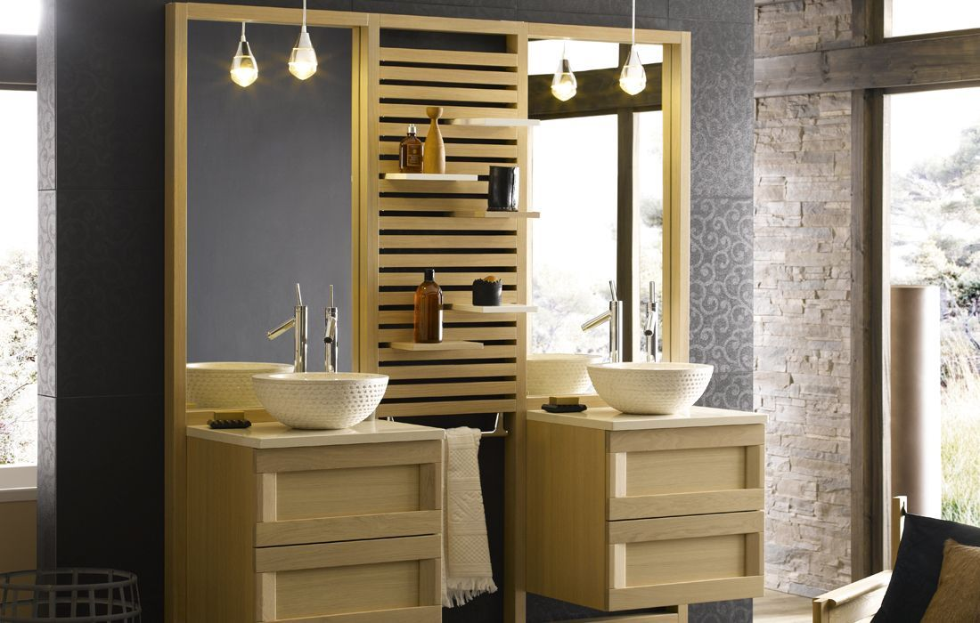 Salle de bain bois et pierre Salle de bain Pinterest