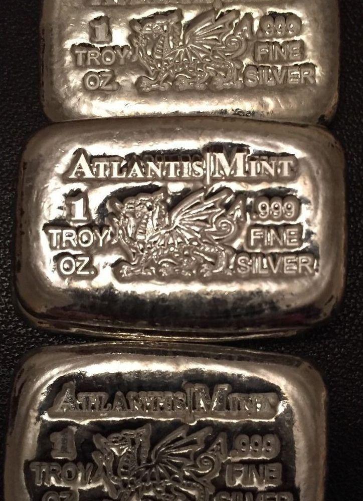 Two 1 Oz Atlantis Dragon Hand Poured 999 Silver Bars Gold Bullion Silver Bars Silver Bullion
