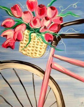 Spring Bike Tulips In Basket Beginner Painting Idea