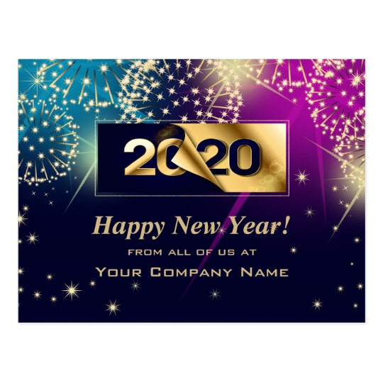 Happy New Year 2020 Custom Corporate Cards Zazzle Com Happy New Year Cards New Year Message Happy New Year Message