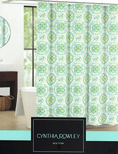 Cynthia Rowley Floral Medallion Elephant Fabric Shower Curtain 72 Inch By