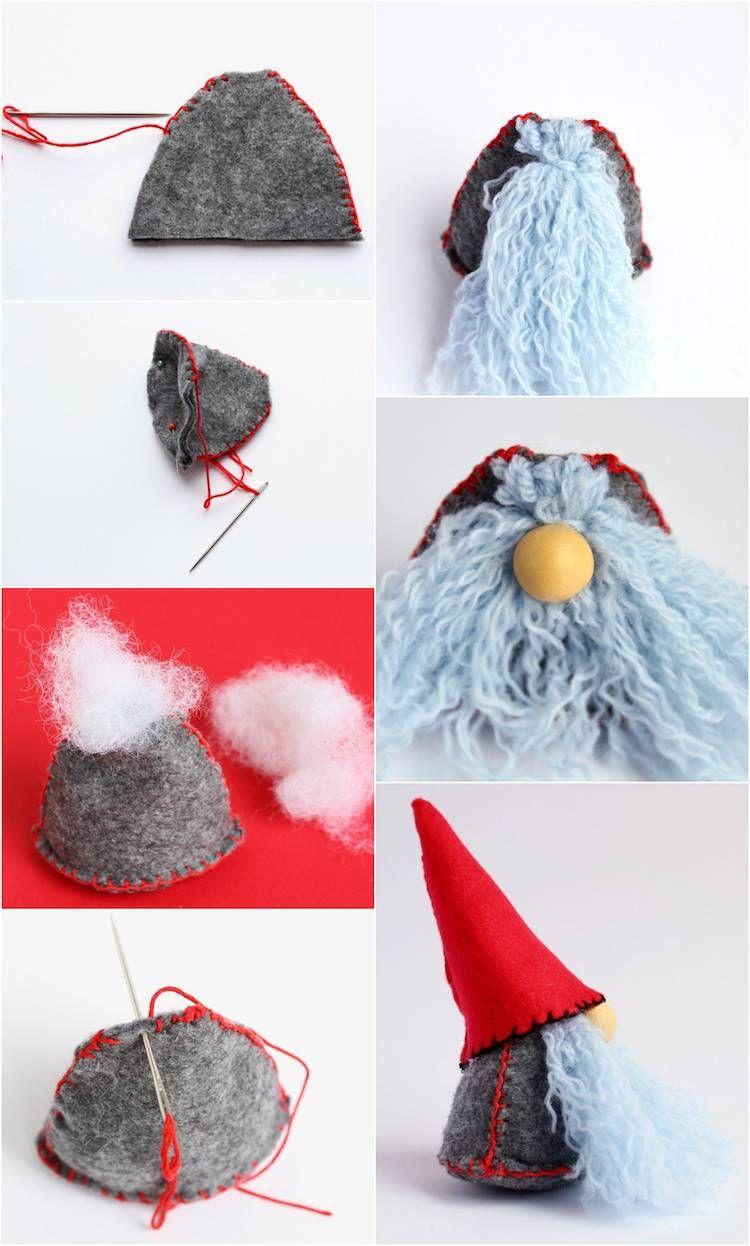 Gnome de Noël à fabriquer: plein d'inspiration pour amateurs de DIY #lutindenoel