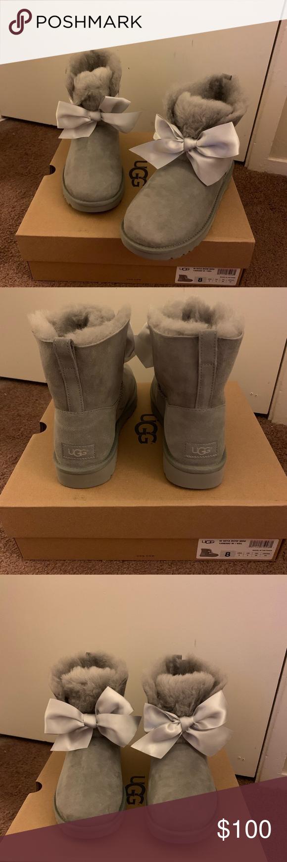NIB UGG Gita Bow Mini Boots Women size 8 100% Authentic