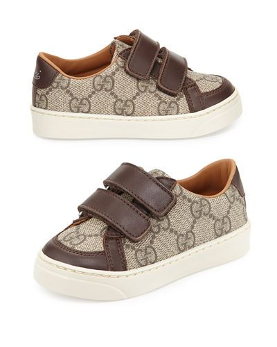 gucci kids shoes. Gucci Sneaker In GG Supreme With Leather Trim. \ Kids Shoes G