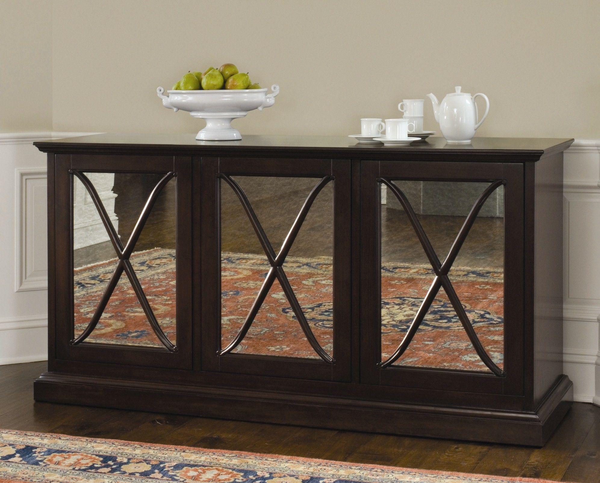 Dark Wood Mirrored Credenza : Luxury mirrored modern buffet table with triple door added dark