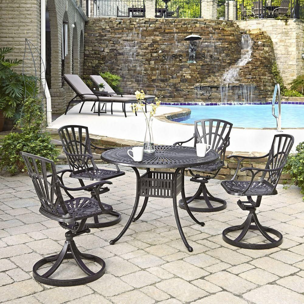 Homestyles Largo 42 In 5 Piece Patio Dining Set 5560 305 The Home Depot Patio Dining Set Outdoor Furniture Sets Patio