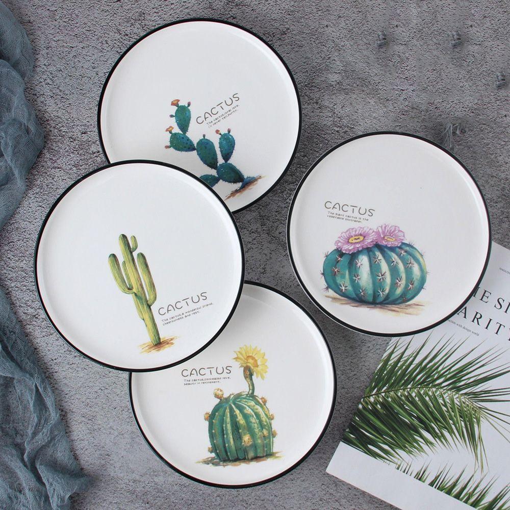 Cactus Design Ceramic Plates Tabak Seramik Comlek