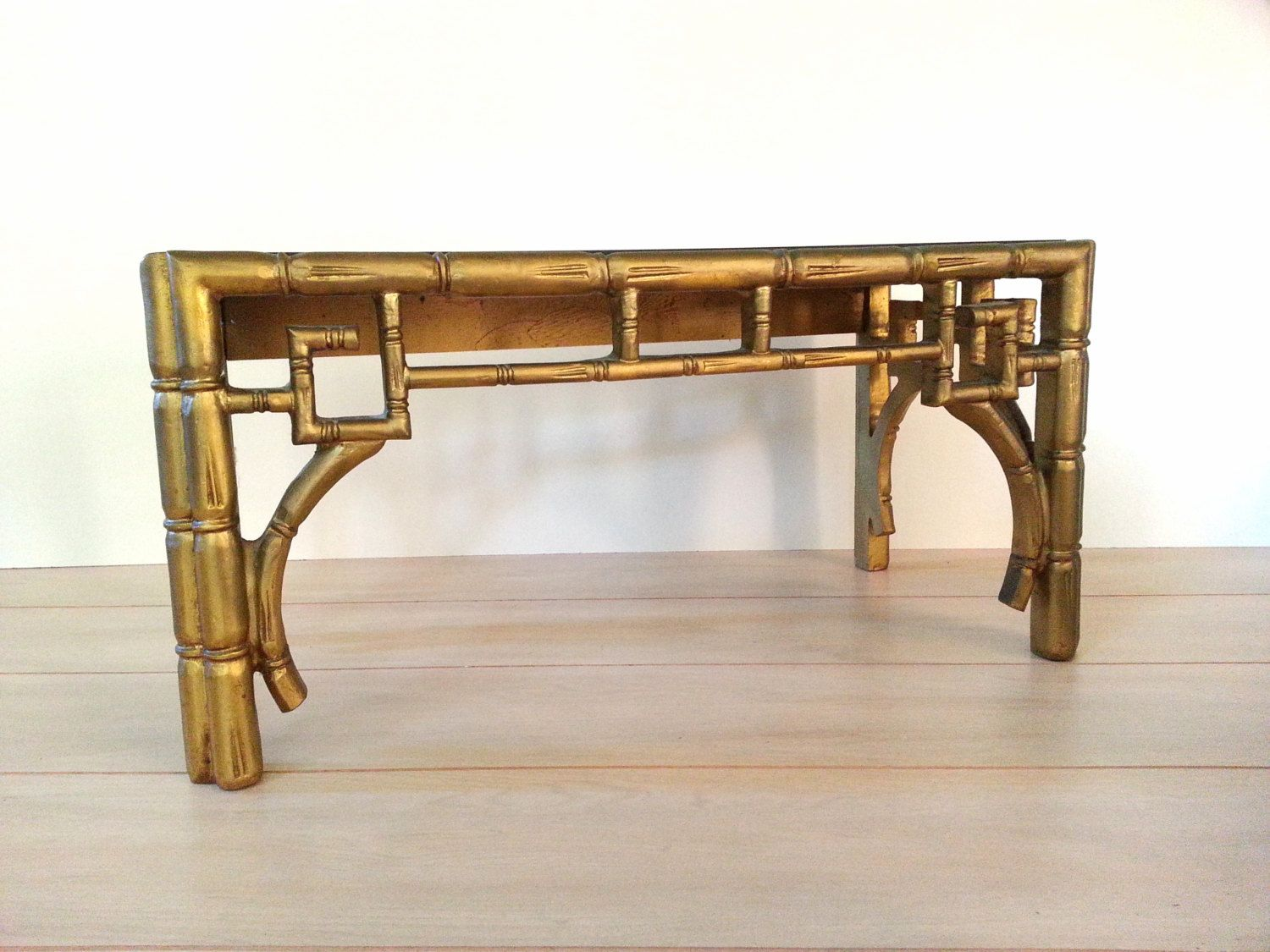Amazing Vintage Table Chinoiserie Faux Bamboo Coffee Table / Hollywood Regency Gold  Glass Top Side Table /
