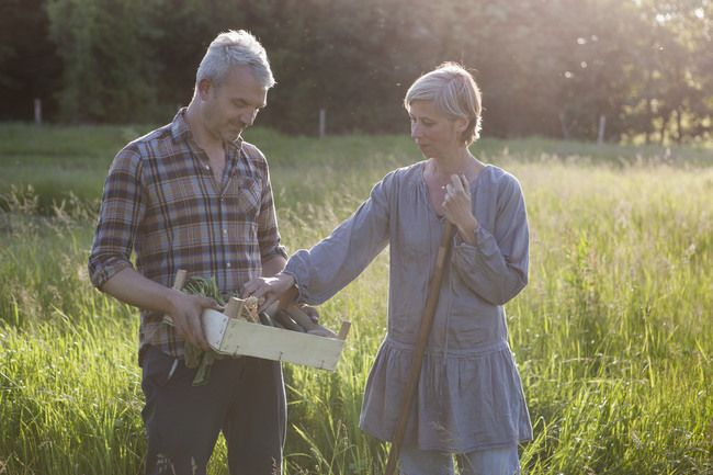Mature couple examining harvested vegetables in crate at community garden