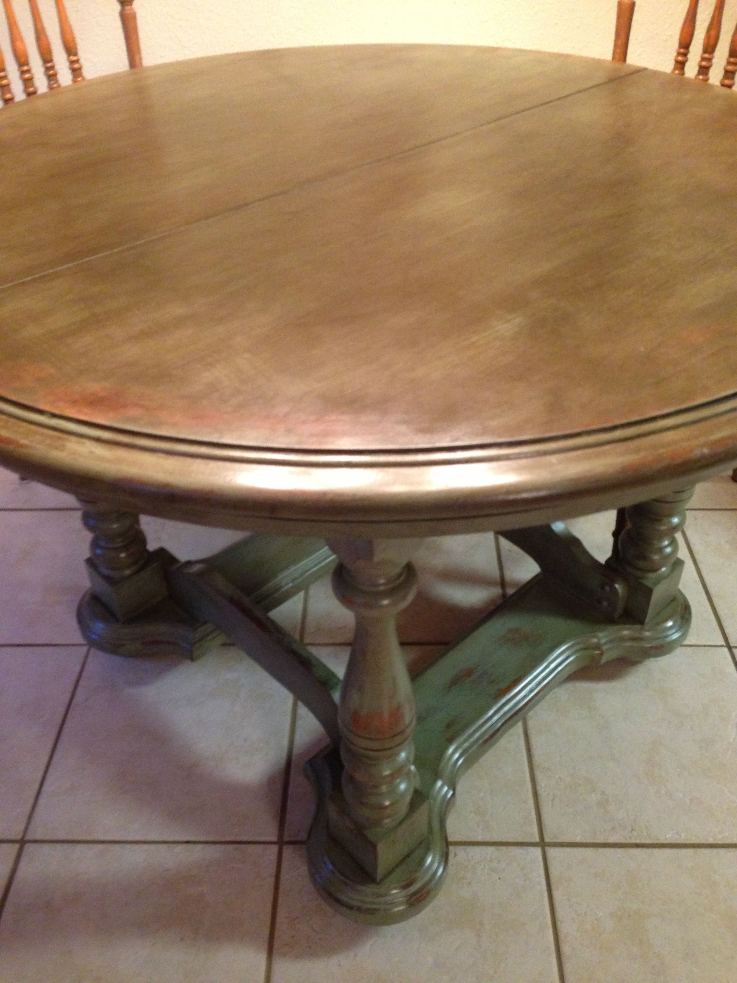 Project kitchen table redo. Green distress is a lovely finish.