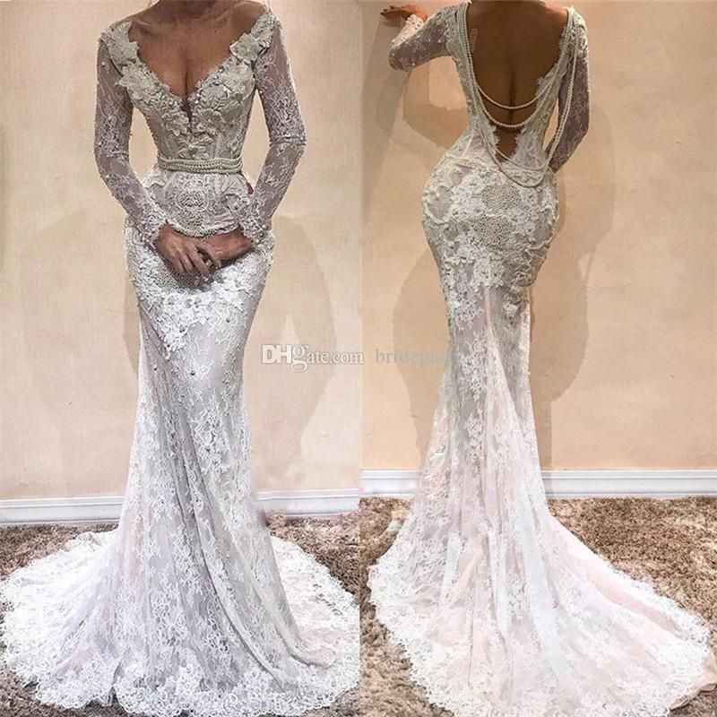 Luxury Full Lace Mermaid Wedding Dresses Long Sleeve Pearls Waist Backless V Neck Long Sleeves Embroidery Bridal Gowns Lace Wedding Dresses Cheap Latest Wedding Lace Mermaid Wedding Dress Lace Bridal Gown
